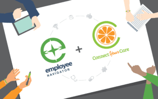 Group of people sitting around table pointing at Employee Nagivator and ConnectYourCare logos
