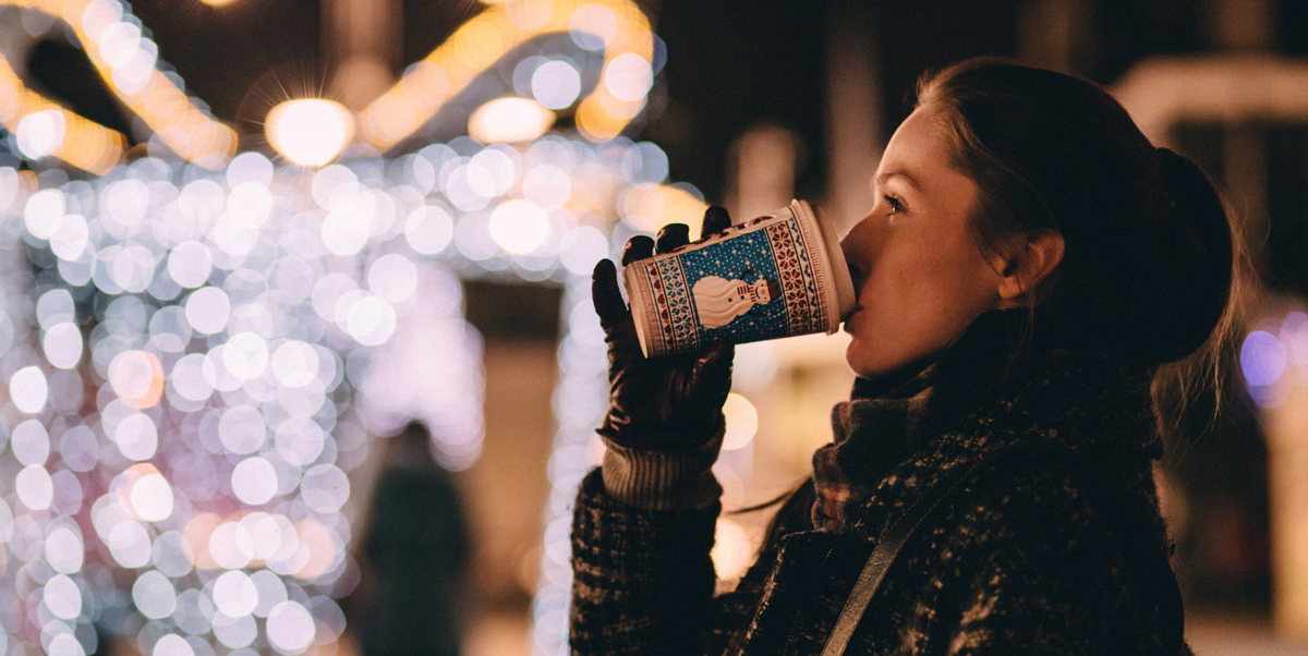 Warm Coffee on a Cold Night - Winter Scene Banner